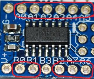 Conectores a los pines de salida y entrada del microcontrolador.