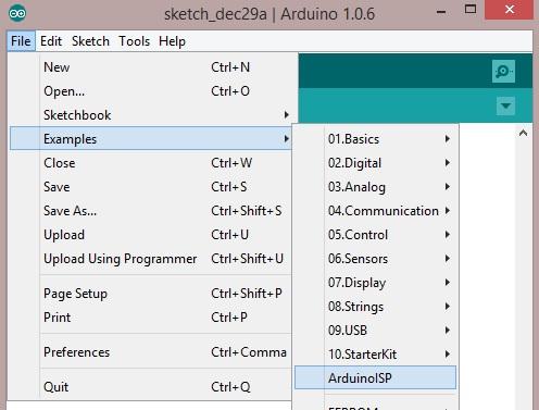 Abrimos el ejemplo de ArduinoISP.