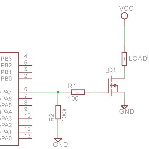 Circuito para carga que requiere más corriente que la del pin del microcontrolador puede dar.