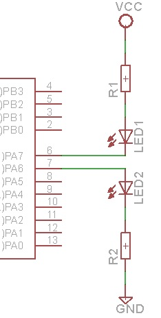 PA7 y PA6 configurados como salidas digitales.