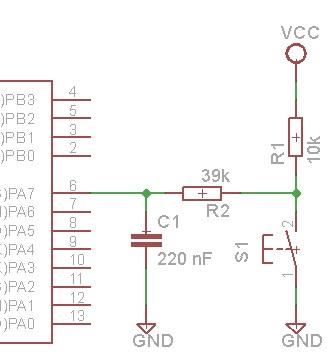 Circuito típico para conectar un pulsador a una entrada digital.