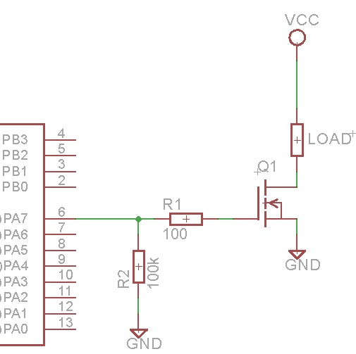Circuit to drive a load that exceeds the maximum current output of a microcontroller pin.